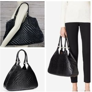 Cole Haan Genevieve Woven Leather Weave Tote FLAW